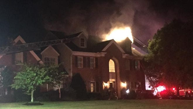 A home in the 2000 block of Rose Mill Court in York Township was struck by lightning Friday night.