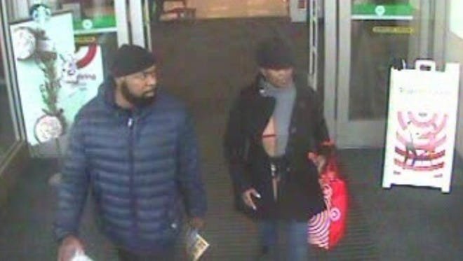 Police are looking for information on two suspects who stole a purse from Panera Bread Nov. 13. The suspects then used credit cards in the purse to purchase gift cards.
