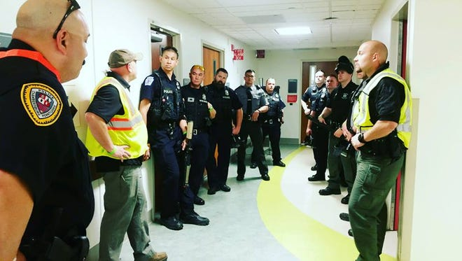 State police, Waynesboro Police and Chambersburg Police participate in an active shooter drill on Thursday, May 24 at Chambersburg Hospital.