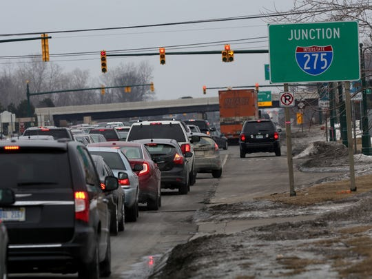 I-275/Ford and Haggerty Road area in Canton, Michigan as seen with congested traffic on Saturday, March 1, 2014.