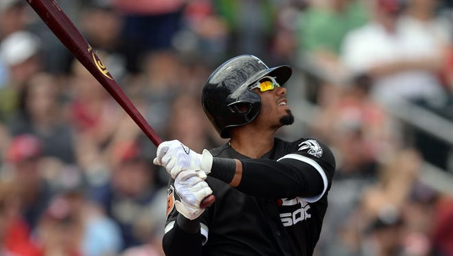Chicago White Sox center fielder Jacob May (64) bats against the Cleveland Indians during the third inning at Goodyear Ballpark on March 25.