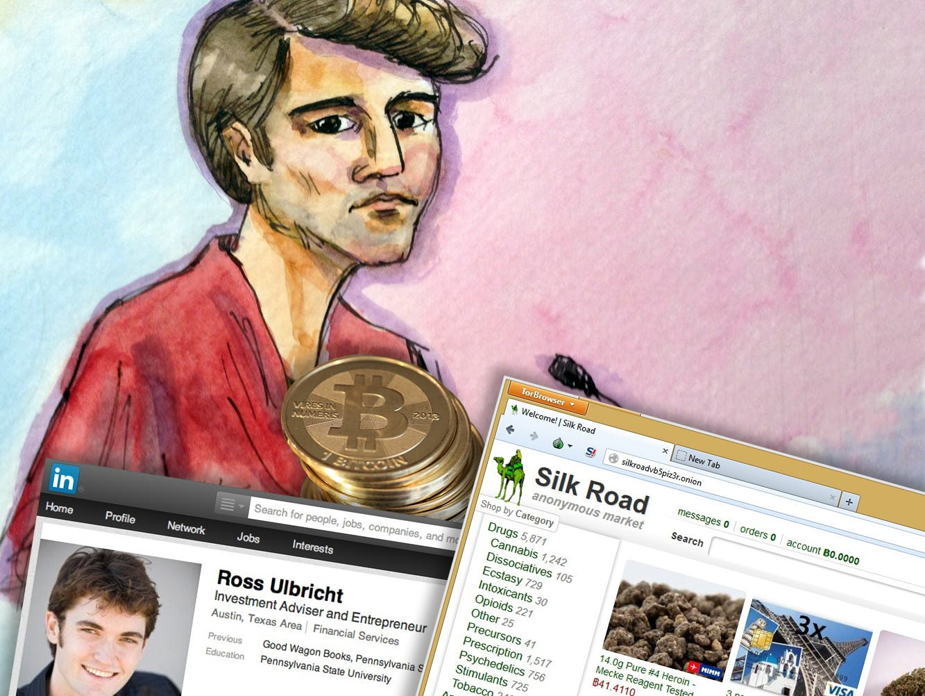 This artist rendering shows Ross William Ulbricht appearing in San Francisco federal court after his Oct. 2013 arrest.