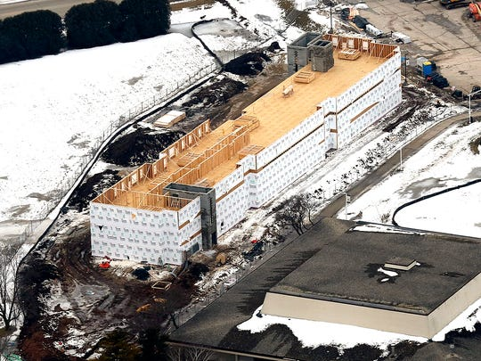An aerial view shows the new 121-bed, apartment-style hosing going up at the University of Wisconsin-Fond du Lac.