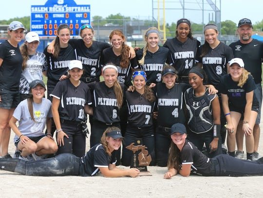 The Plymouth girls softball team is all smiles after
