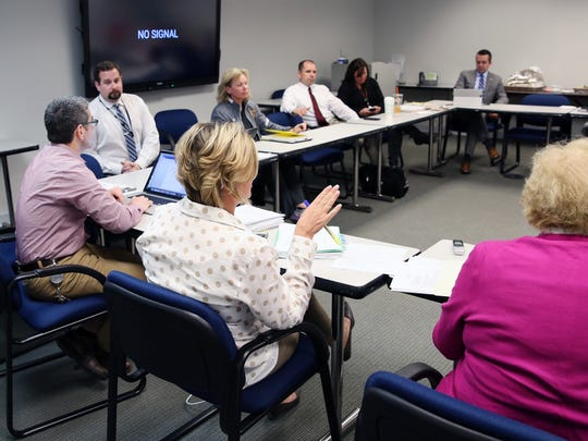 Section 1 Executive Director Jennifer Simmons, runs a meeting at Southern Westchester BOCES in Harrison April 24, 2018.
