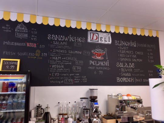 A portion of the menu stretching across one wall of