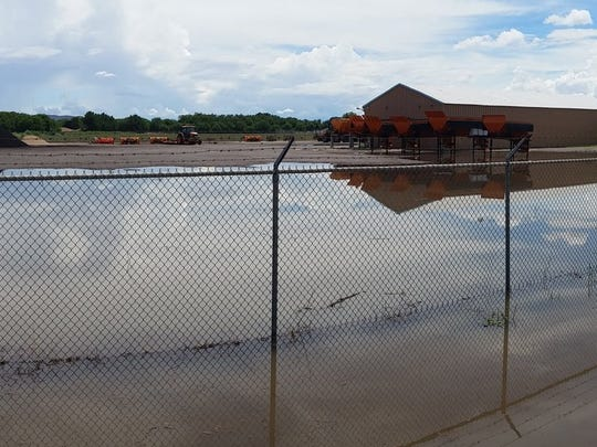 The Village of Hatch is still soggy on Monday, July 24, 2017, in the aftermath of storms that prompted an evacuation of 40 residents in the area.