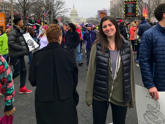 Jamie Zabinsky attended the march with her dad.