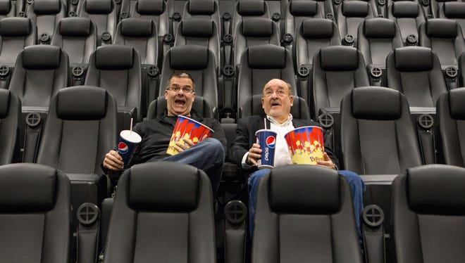 Penn Ketchum (left), owner of Penn Cinema Riverfront, and WilmFilm founder Barry Shlecker in 2013 when the WilmFilm Festival was launched at the theater.
