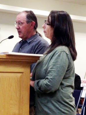 Tour of the Gila officials Jack Brennan and Michelle Geels discuss this year's event with the Silver City Town Council on Tuesday.