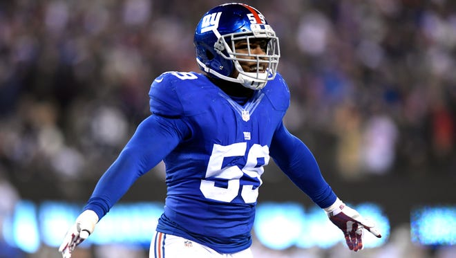 Giants outside linebacker Devon Kennard (59) during the Giants' 10-7 win over the Dallas Cowboys at MetLife Stadium in East Rutherford on Sunday.