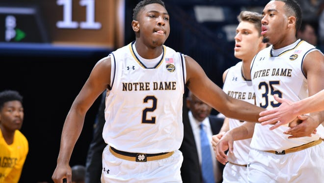 Dec 4, 2016; South Bend, IN, USA; Notre Dame Fighting Irish guard T.J. Gibbs (2) celebrates after a basket in the first half against the North Carolina A&T Aggies at the Purcell Pavilion. Mandatory Credit: Matt Cashore-USA TODAY Sports