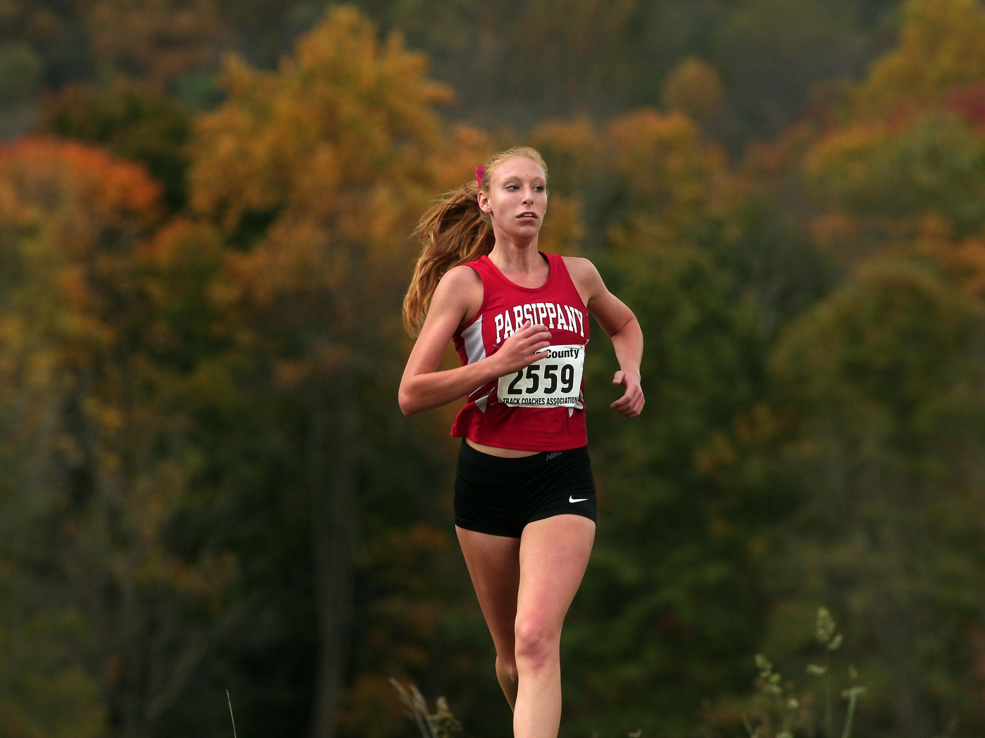 Parsippany's Ally Schlosser heads to the finish at the NJAC small-school cross country championships.