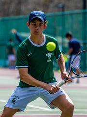 Nicholas Gritz of Delbarton competes in a second doubles