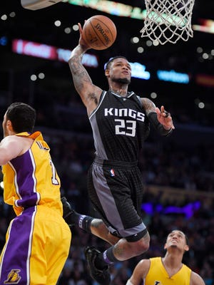 Kings guard Ben McLemore goes up for a dunk against the Lakers on April 7, 2017.