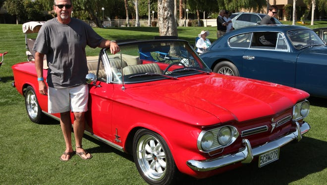 Patrick Croan of Temecula, Calif., with his   1962 Chevrolet Corvair at the Desert Classic Concours d'Elegance in Cathedral City, Calif.
