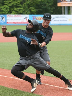 Hudson Valley Renegades' infielder, Tyler Frank tags outfield, Bryce Brown during practice at Dutchess Stadium on June 13, 2018.