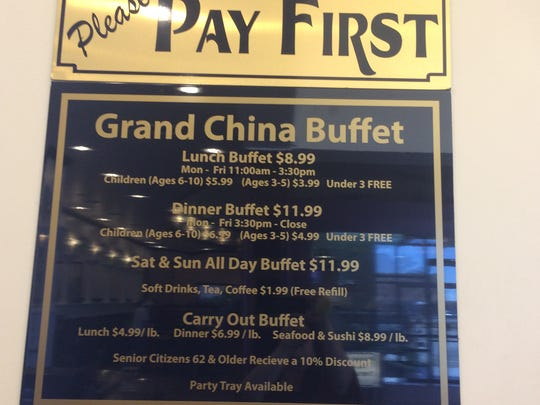 The Grand China Buffet has its signs up and ready for