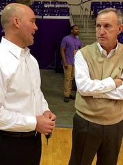 Lipscomb coach Casey Alexander, left, and Belmont's Rick Byrd.