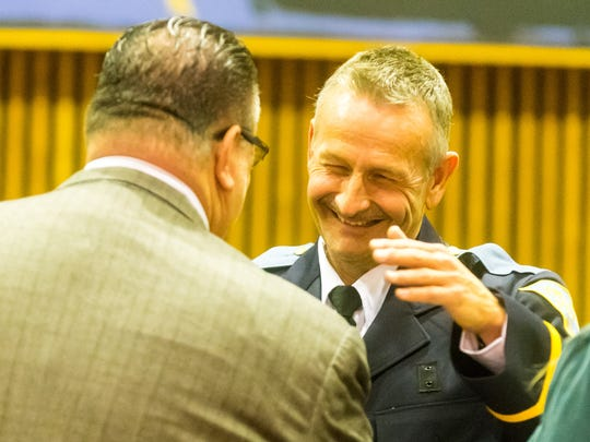 New Vineland police chief Rudolph Beu is sworn in by Mayor Anthony Fanucci at Vineland City Hall on Tuesday, January 3.