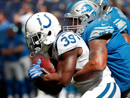 Indianapolis Colts running back Troymaine Pope (39)