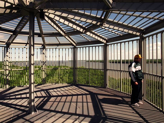 Paul Browman, from Des Moines, gazes from atop the