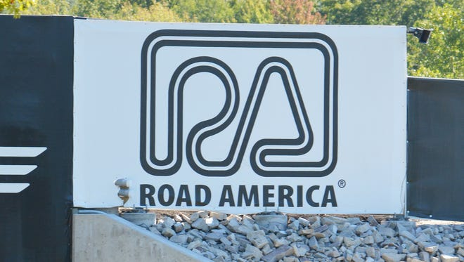 Road America's logo appears on the Turn 6 bridge at the track in Elkhart Lake, Wis.