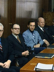 Malcolm Severance, center, in sportcoat and beard, at his first Burlington Savings Bank board meeting. Burlington, 1969