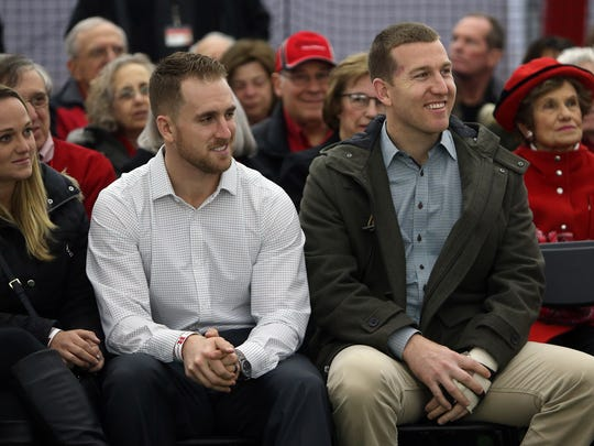 Rutgers alumni Patrick Kivlehan, l, outfielder in the Cincinnati Reds organization and Chicago White Sox third baseman Todd Frazier in attendance as Rutgers dedicates its new indoor baseball and softball practice facility called the Fred Hill Training Complex. January 31, 2017, Piscataway,, NJ.