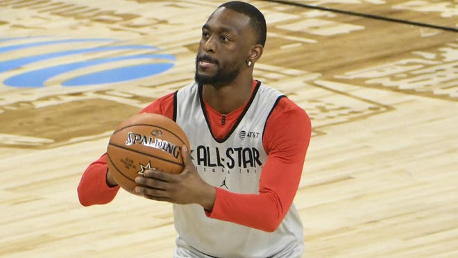 Celtics guard Kemba Walker, practicing his free-throw shooting at the All-Star Game in January, has missed a number of games this year with a sore knee and it is continuing to bother him in Florida.