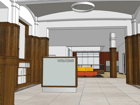 An architect's rendering of the planned entrance area at a remodeled downtown Green Bay YMCA.