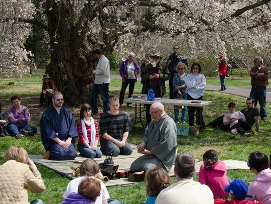 A Japanese tea ceremony is held at Morris Arboretum