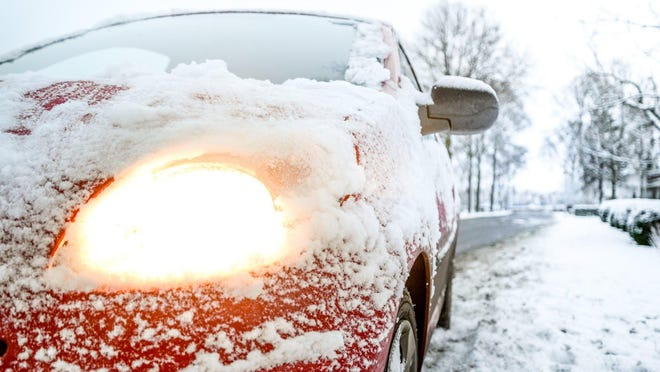 Make sure you clear your vehicle windows, mirrors and lights of all snow, ice, dirt and road salt before taking off.