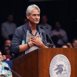 Olympic gold medalist diver Greg Louganis thanks the City-County Council in Indianapolis after it passed a resolution denouncing RFRA by a 24-4 vote at its meeting on Monday, March 30, 2015.