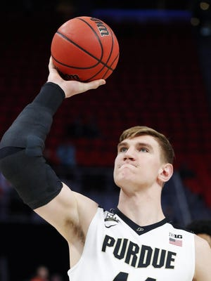Isaac Haas, who fractured is elbow during Purdue's run in the NCAA Tournament, worked out for the Pistons on Saturday.