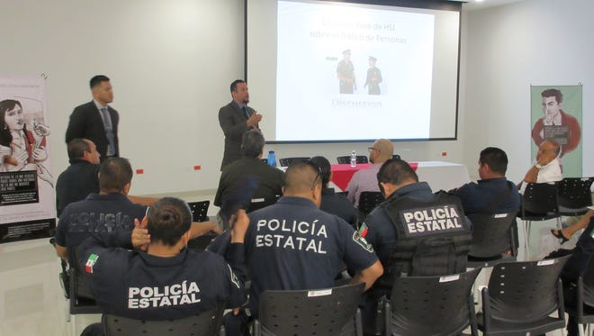Homeland Security Investigations special agents from El Paso make a special presentation Tuesday to Mexican law enforcement agents on how to identify human trafficking and the dynamics of the crime. Mexican and U.S. officials gathered in Juárez to learn about human trafficking and share information on how to fight it.