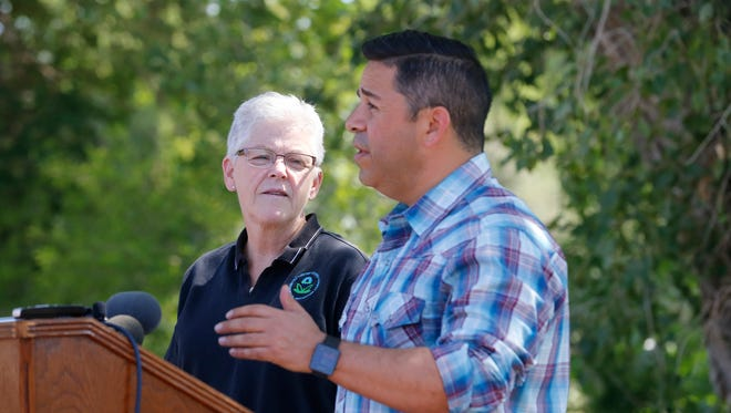 U.S. Rep. Ben Ray Luján addresses the media with EPA Administrator Gina McCarthy Aug. 13 at Berg Park in Farmington in the aftermath of the Gold King Mine spill.