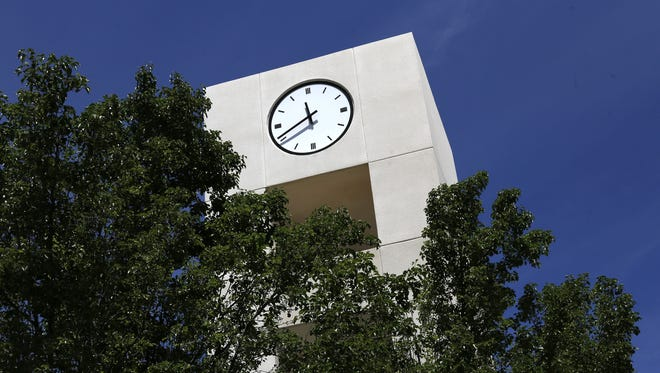 The clock tower at San Juan College is pictured in this Daily Times file photo.