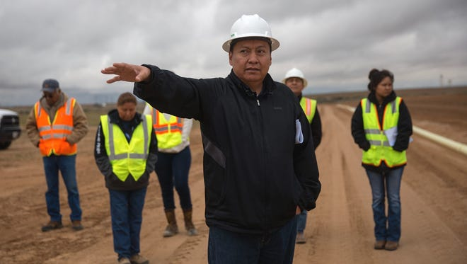 NAPI Chief Executive Officer Wilton Charley leads an April 25 tour at NAPI headquarters south of Farmington. Charley submitted his resignation on April 7.