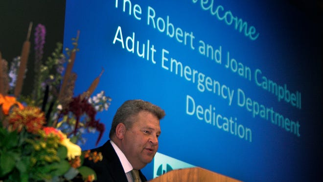 Ronald C. Rak, president and CEO Saint Peter's Healthcare System, speaks during Saint Peter's University Hospital's dedication of its newly remodeled and modernized adult emergency department Wednesday in New Brunswick.