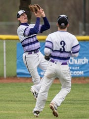 Lakeview junior Nate Jones grabs a fly ball for an