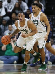 Michigan State forward Miles Bridges dribbles during
