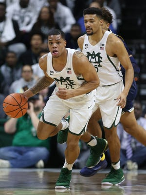 Michigan State forward Miles Bridges dribbles during the first half against Michigan on Saturday, Jan. 13, 2018 at the Breslin Center in East Lansing.