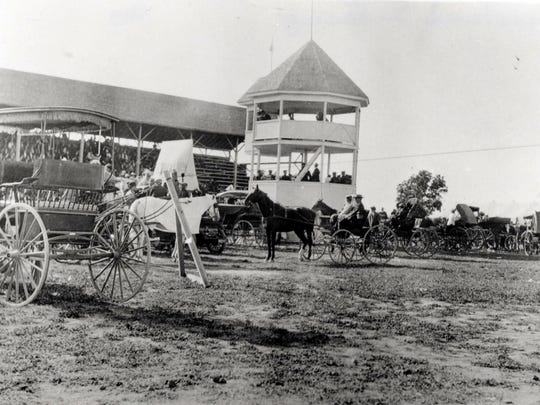 Plymouth's Race Track was a big feature. A half mile race track was completed in July 1897, and to mark the occasion, a harness race was scheduled. First prize in the horse race was $25. Motorcycle racing was added in 1909 and car racing came later. This image shows the Plymouth grandstand in about 1900.