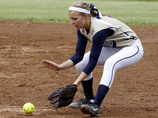 Maura Glovins of Elmira Notre Dame looks a grounder into her glove May 27 during the Crusaders' 11-1 win over Union Springs in the Section 4 Class C final at the BAGSAI Complex.
