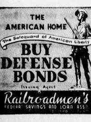 Railroadmen's Federal ad for Defense Bonds in The Indianapolis