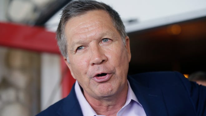 Republican presidential candidate, Ohio Gov. John Kasich addresses supporters during a reception at the 2016 Mackinac Republican Leadership Conference, Saturday, Sept. 19, 2015, in Mackinac Island, Mich.