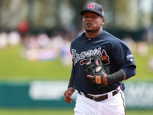 Atlanta Braves shortstop Erick Aybar got a chicken