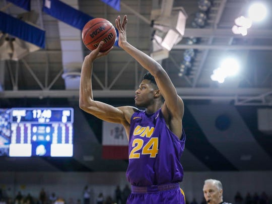 Northern Iowa sophomore guard Isaiah Brown fires a