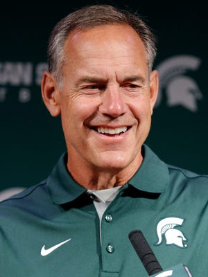Michigan State football coach Mark Dantonio talks about his team Aug. 10, 2015, in East Lansing.